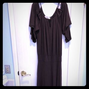 NWOT Long Chocolate cold shoulder dress